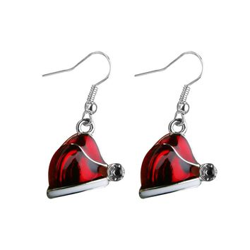 1 Pair Christmas Jewelry Red Hat Crystal Decor Hook Earrings XMAS Party Gift