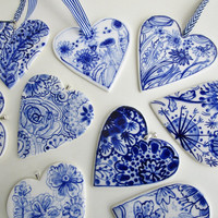Hand painted porcelain  heart -  Blue and white Delftware ornament