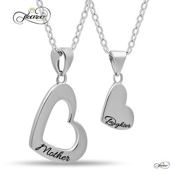 Mother Daughter Heart Necklace Set, 925 Silver, Silver Plated Heart Necklaces