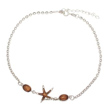 "925 Sterling Silver Starfish Hawaiian Genuine Koa Wood Link Chain Anklet 9""+"