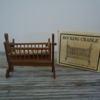 Rocking Cradle Shackman Miniature Dollhouse Furniture, Vintage Doll House Wooden Furnishings
