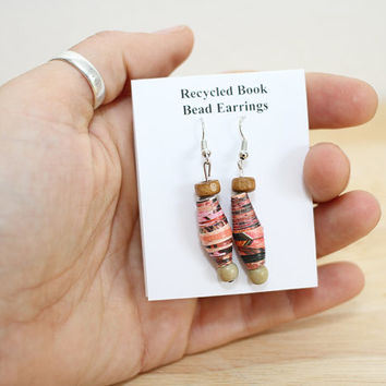 Red and Tan Boho Earrings Made With Recycled Book Pages, Rustic Earrings, Red Earrings, Book Lover Earrings