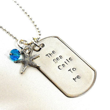 SALE The Sea Calls To Me Stainless Steel Dog Tag And Chain With Starfish ANd Ocean Blue Faceted Crystal