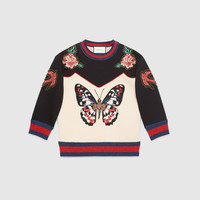 Gucci Embroidered bonded cotton top