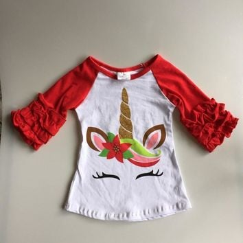 new arrivals Christmas Fall/winter baby girls children clothes boutique cotton top t-shirts raglans icing red unicorn kids wear