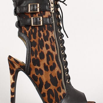 Dollhouse Contagious Leopard Lace Up Bootie