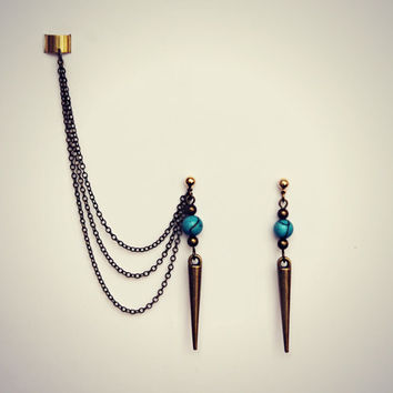 back to school sale spikes and turquoise ear cuff earrings, dangle ear cuff, ear piece, tribal ear cuff, punk ear cuff