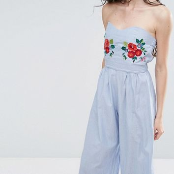 Glamorous Tall Bandeau Culotte Jumpsuit With Embroidery Detail at asos.com