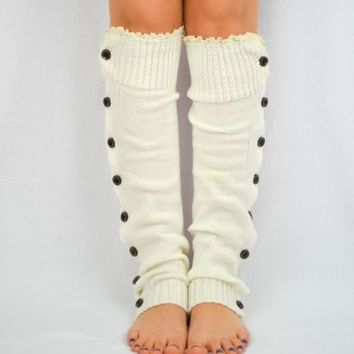 LACE Leg Warmers Ivory women teens button down trim boot socks cute slouchy cute