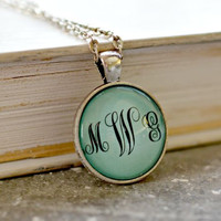 Monogram Pendant Necklace - Light Blue