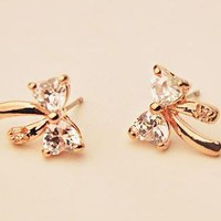Gold and Rhinestone Bow Fashion Earrings