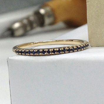 Sapphire Wedding Ring 14K Rose Gold,V prongs,Round Cut Blue Sapphires,Half Eternity Matching Band,Anniversary Rings,Stackable,Fashion Fine