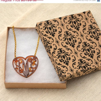 End Of Summer SALE Tortoise Shell Heart Charm 3 Initials Monogram Necklace Love - 1.5 inch Vine Personalized Monogram Acrylic Custom Laserc