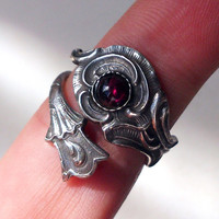 HOT SALE New Handmade Sterling Silver Ring Garnet Spoon Ring Free Shipping