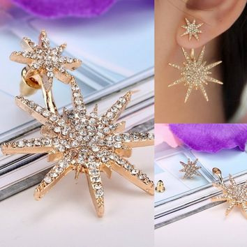 Gold Stars Shaped Rhinestone Dangle Earrings