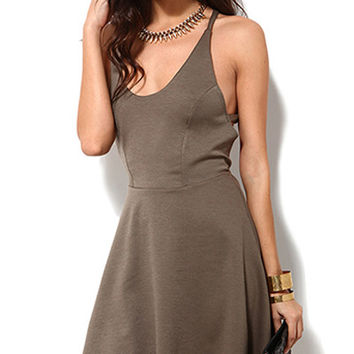 Brown Scoop Neck Skater Dress