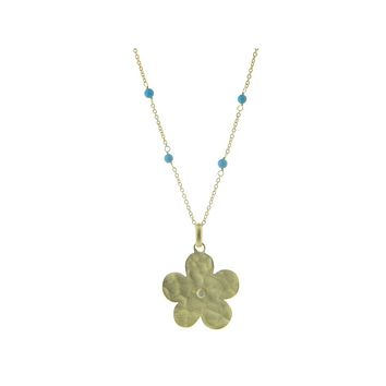 Hammered Gold Plated Sterling Silver Flower of Life & Turquoise Stone Necklace, 16+1.5‰۝