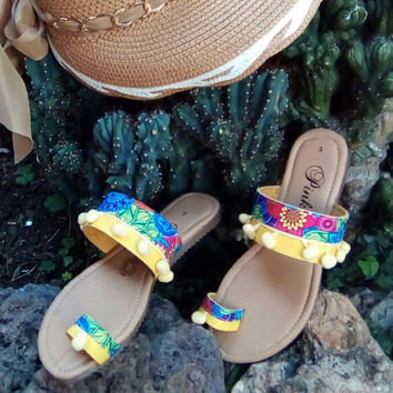 Boho Ethnic Tribal Sandals Yellow with Pompoms