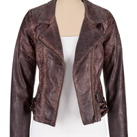 Double Buckle Washed Faux Leather Jacket - Chocolate