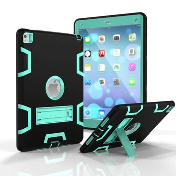 New For Funda iPad Air 2 Case Hybrid Rugged Rubber Hard Plastic+Silicone High Impact Shockproof Case Cover for iPad Air 2 iPad 6