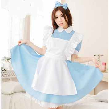 Anime Sweet Lolita Dress Sissy Maid Uniform Adult Halloween Costumes For Women Alice In Wonderland Party Cosplay Costume