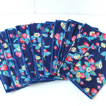 "Blue Cloth Napkins Flowers and Strawberries | Floral & Fruit Napkins Set 10 | Blue Red White Yellow 18"" Never Used 