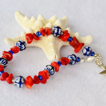4th of July bracelet, coral bracelet, red white and blue, sodalite bracelet, Independence Day, July gift, summer jewelry, patriotic jewelry
