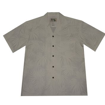 KY's Mens White Button Down Hawaiian Shirt with White Palm Leaves