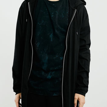 BLACK LONG LINE ZIP THROUGH HOODIE - Jersey Fit Guide - Clothing