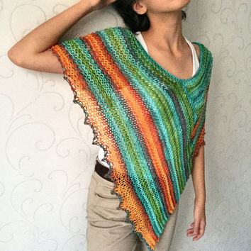 Knit poncho, boho wrap, rainbow poncho sweater, womens knit top, loose knit top, loose scarf