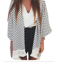 Tassel Kimono Vintage Plaid Printed Cardigan Casual Loose Batwing Sleeve Top