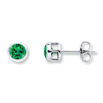 Lab-Created Emerald Earrings Sterling Silver