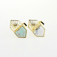 Stylish Gift Jewelry New Arrival Shiny Ladies Strong Character Fashion Geometric Turquoise Ring [4956877508]