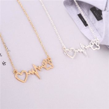Fashion alloy Heartbeat Electrocardiogram ECG Dog Cat Paw Print Pendant Necklace Love Kitten Puppy Animal Jewelry Gift For Woman