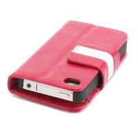Doublju Wallet Leather Case ID/Credit Card slot Holder Cover Pouch for Apple iPhone 4S - CA06 - Pink