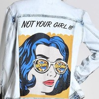 Glam Retro Not Your Girl Denim Jean Jacket