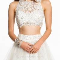 Lace Two Piece With Tulle Short Skirt Prom Dresses by Dave and Johnny