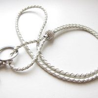 Leather Lanyard, Braided Cord, Detachable Lanyard, Badge Holder, with Bling, Key Chain, White Leather, USB Necklace, Leather Keychai, Gifts