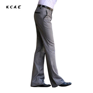 New Men's Flared trousers Formal pants Bell Bottom Pant Dance suit pants Size 28-36 Gray