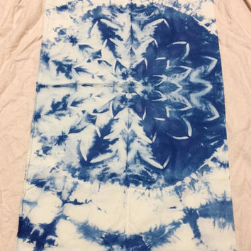 Tie Dye Pillowcase Extra Long Shibori Indigo Mandala