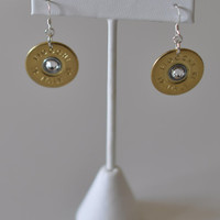Fiocchi Italy 12 Gauge Shotgun Shell Bullet Earrings Sterling Silver 925 Ear Wires Swarovski Crystals Custom Made in the USA
