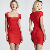 Cap-Sleeve Square Neck Bodycon Bandage Dress Fashion Club Dress Party Dress