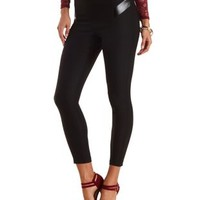 Faux Leather Trim High-Waisted Skinny Trousers - Black