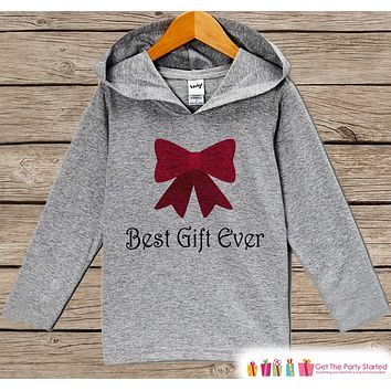 Best Gift Ever - Kids Hoodie Pullover - Grey Christmas Sweater - Christmas Pregnancy Announcement - Holiday Outfit for Baby, Toddler, Youth - Bow