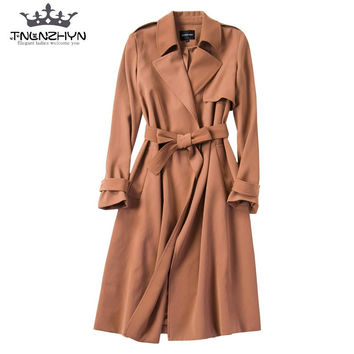 tnlnzhyn 2017 Spring Autumn Women Trench Coat Long sleeves Windbreaker coat Loose Casual outerwear  Y318