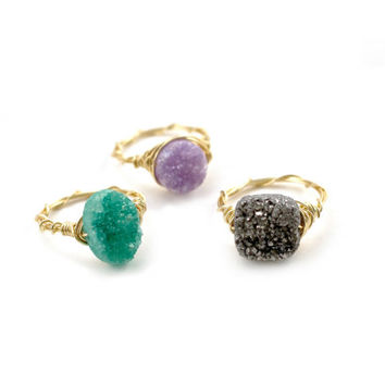 Gold Druzy Wire Wrapped Ring, Silver Druzy Ring, Lavender Druzy, Green Druzy, Gold Filled Druzy, Sterling Silver Druzy, Bridesmaids Rings