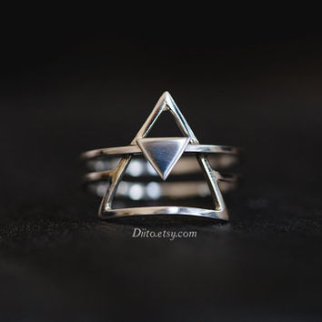 Size 6.5, Sterling Silver Double Triangle Ring, Handmade Jewelry, Thin Rings, Stacked Ring, Geometric Ring, Stacking Ring, Ready To Ship!