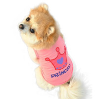 Low Price Dog Pet Clothes & Summer Pink Princess Crown Vest Sleeveless T-Shirts Apparel dog clothes cheap Smile