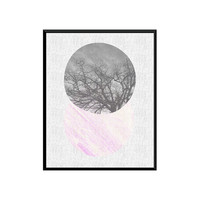 Geometric Circle Print, Grey and Pink Decor, Pink Gray, Black trees, Scandinavian Wall Art,Minimal Modern, Instant Download