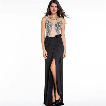 Echoine Formal Fishtail Mermaid Robe Sexy Lady Lace Embroidered Mesh Wrap Backless Maxi Evening Vestidos de Gala Dress Black